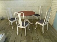 Antique Victorian Pedestal Dining Table with Four High Back Chairs