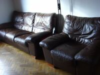 3 Seater sofa and matching chair - dark brown leather