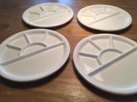 White Plates with Sections (set of 4)
