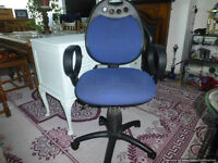 Blue upholstered swivel computer chair, in very good condition.