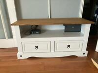 Corona white TV unit with wooden top and 2 drawers