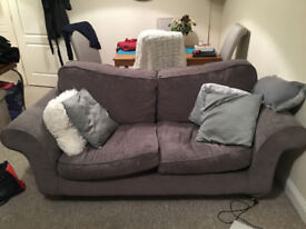 2 Piece Grey Sofa Set and Matching Chair and Cushions