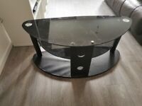 Glass TV Stand - Wooden base Corner stand