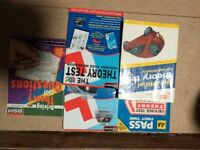 Various driving theory books and DVDs