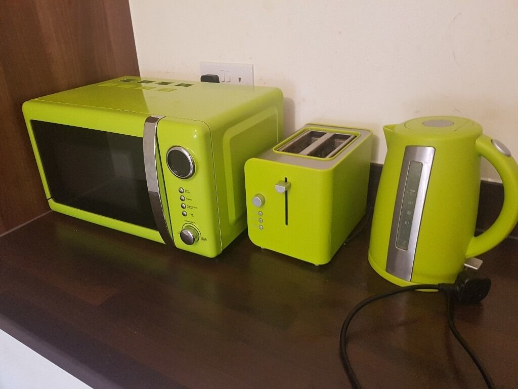 Lime Green Microwave Toaster And Kettle Set