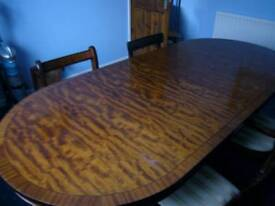 Mahogany effect dining table with 4 chairs