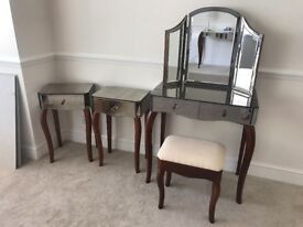 Laura Ashley mirrored vanity table and side tables