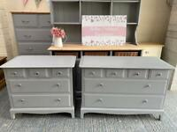 Pair of stag minstrel chest of drawers (individually priced)