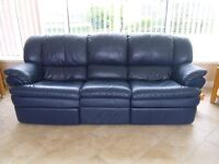 3-1-1 Navy Blue Leather Suite