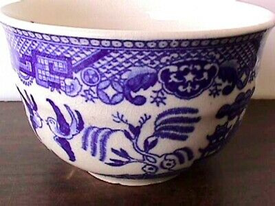 BLUE WILLOW 3 CUPS INSIDE PATTERN SAUCERS JAPAN BLACK MARK-R - $30.00
