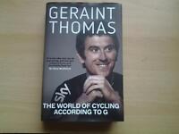 "Hardback Book, GERAINT THOMAS "" THE WORLD OF CYCLING ACCORDING TO G."""