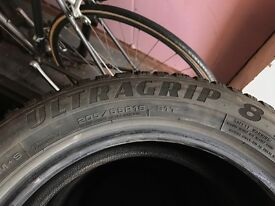 4 Goodyear UltraGrip 8 Winter Tyres for sale - 205/55R16 91T