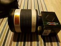samyang 500mm mirror lens with x2 converter