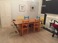 Solid Oak Extendable Dining Table & 6 Painted Chairs