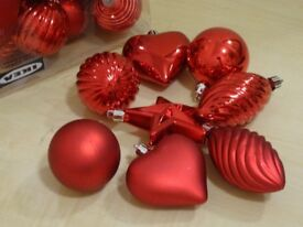 38 X IKEA CHRISTMAS TREE DECORATION - BAUBLES, HEARTS, STARS ETC - READY TO HANG