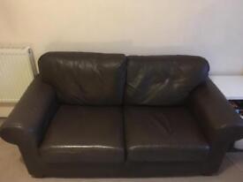 Brown Leather 2 Seater Ikea Sofa