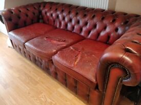 Oxblood/Red Leather Chesterfield 3 seat Sofa and Armchair. Vintage.