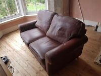 Two seater leather sofa brown