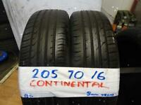MATCHING PAIR OF 205 70 16 CONTINENTALS 6mm TREAD £70 PAIR SUP & FITD OPN 7 DYS 6PM (PUNCTURES £8)