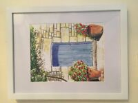 BLUE DOOR PAINTING - WATER COLOUR PRINT (FRAMED) - £25