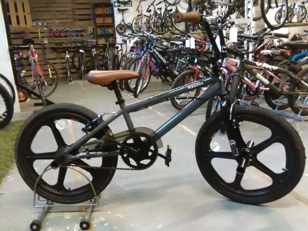 PIRANHA ULTIMATE BMX BIKE 20 INCH SKYWAY WHEELS GREY/BLACK EXCELLENT CONDITION