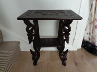 antique carved wood side table