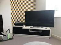 High gloss white tv unit extra large