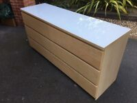 IKEA MALM BEECH WOOD CHEST OF 6 DRAWERS