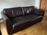 Brown leather 3 seater sofa and matching armchair - will split