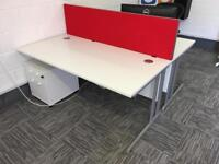 Quality commercial desk with cabinet x2