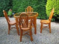 Cane conservatory furniture, Dining table and 4 chairs
