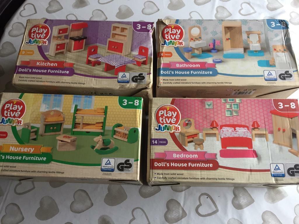 PLAYTIVE DOLLS HOUSE FURNITURE Nursery 15 Piece