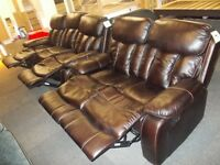 BRAND NEW FACTORY SEALED - WOODSTOCK RECLINER leather aire SOFA 3+2 (manchester free delivery)