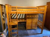 Solid Pine Highsleeper Single Bed with Desk & Wardrobe - Julian Bowen Barcelona Bedsitter Bunk