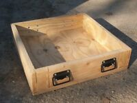 pine shelves/boxes, trays, sanded pine