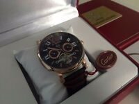 New Swiss Cartier Tourbillon Rose Gold Case Automatic Watch, See Through back