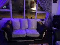 3&2 seater sofas black leather and velvet silver in mint condition