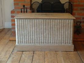 SOLID WOOD --CHEST / OTTOMEN / TRUNK / BLANKET BOX -- SOLID WOOD WITH WICKER SURROUND ( LARGE SIZE )