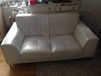 Leather sofa off white well used small