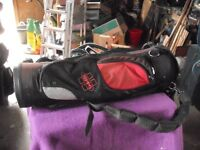 HIPPO 9 inch CART BAG, RED AND BLACK, TROLLEY, BROLLEY AND 50 BALLS
