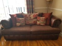 Chesterfield large arm chair (cuddle chair) and large three seater sofa