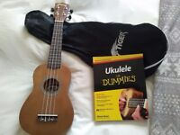 Tiger Ukulele with carry case and Idiot's guide to learning the Ukulele with CD.