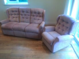 Suite : three seater sofa and riser/ recliner armchair