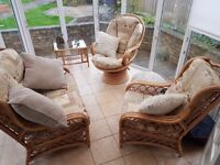 High Quality Daro 3 Piece Conservatory Cane Furniture Plus Two Tables