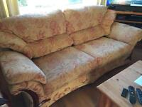 Three seater & two seater sofas with foot stool