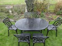 LARGE GARDEN FURNITURE SET - TABLE AND 6 CHAIRS - CAST ALUMINIUM -