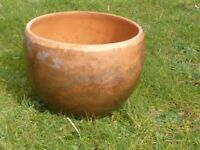 Vintage Brown Bowl Terracotta Garden Planter / Garden Pot 18cm Tall