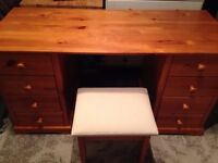 Pine dressing table. And stool .