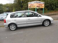 HONDA CIVIC SE EXECUTIVE 5DDOR H/B FULLY LEATHER INSIDE FULL 12 MONTH MOT DRIVE VERY NICE .