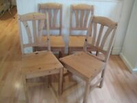 Set of 4 Lovely Solid Pine Kitchen / Dining Chairs - Very good condition